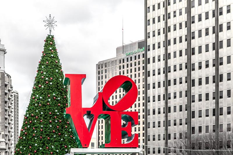 Love Park in Philadelphia at Christmastime.