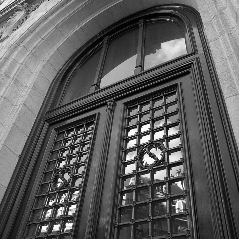 Door with reflections, Sorbonne, Paris