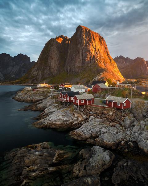 Hamnøy Lofoten Sunrise september landscape photography norway red huts.jpg