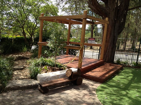 open plan timber cubby with deck