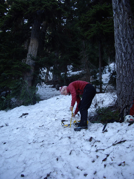 Putting the crampons on on the approach.  I got us pretty lost.