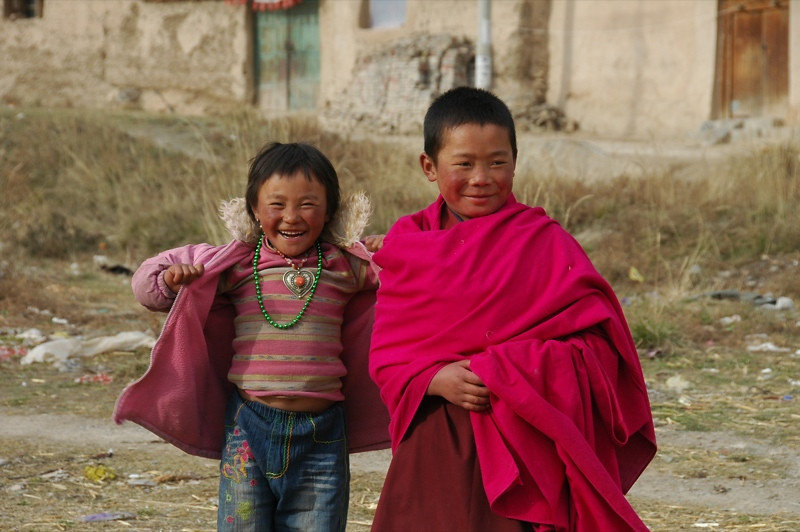 Tibetan Kids Wearing Pink - Xiahe, China