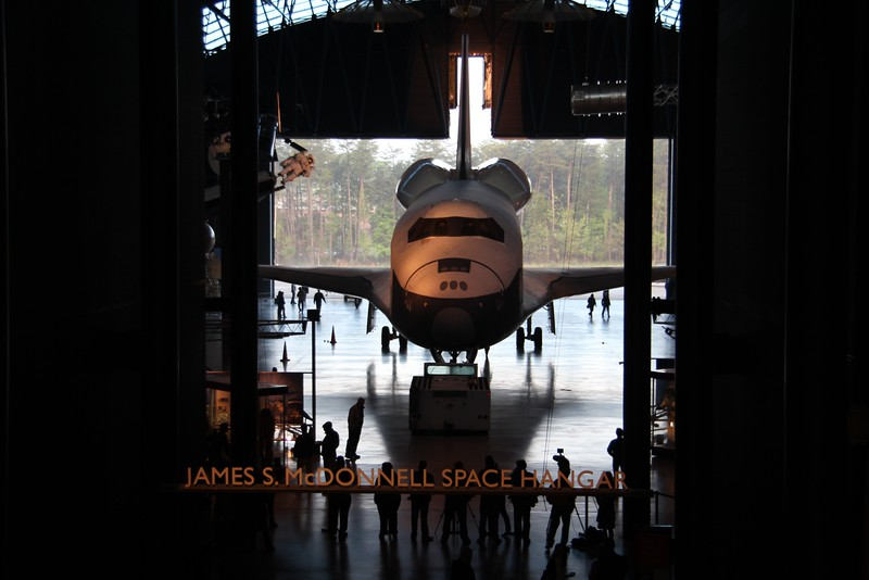 Enterprise rolls out of the James S. McDonnell Space Hangar at the Smithsonian National Air and Space Museum's Steven F. Udvar-Hazy Center