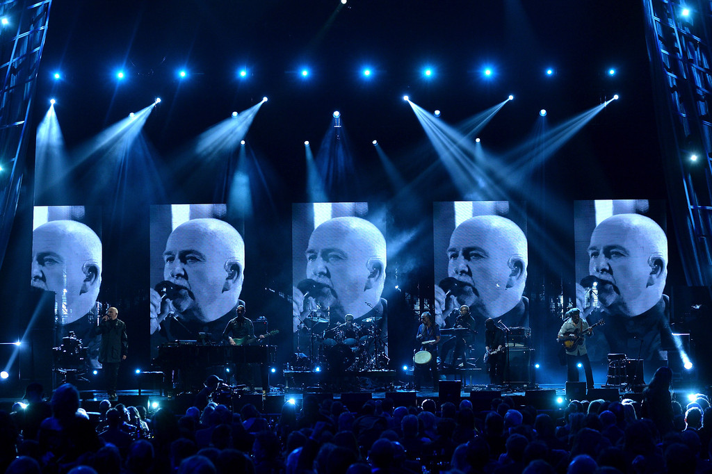 . Inductee Peter Gabriel performs onstage at the 29th Annual Rock And Roll Hall Of Fame Induction Ceremony at Barclays Center of Brooklyn on April 10, 2014 in New York City.  (Photo by Larry Busacca/Getty Images)