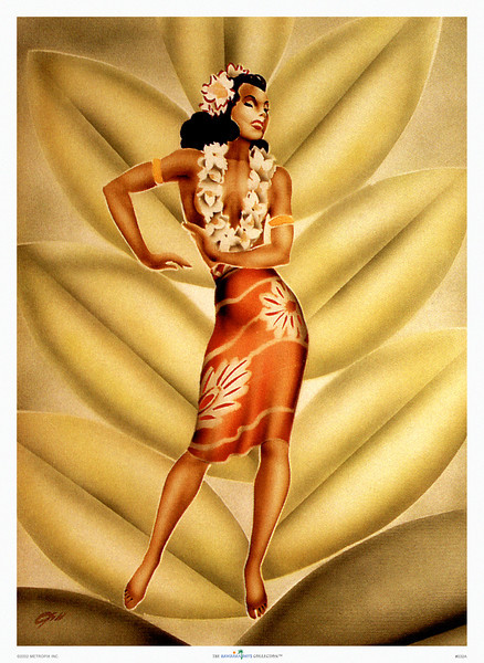 032: Hawaiian Hula Dancer by Gill from ca. 1940's. Gill captured the grace and beauty of the Hawaiian wahine. Today Gill's work is regarded the most recognizable of the period.