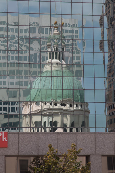 Reflection of The Old Courthouse -- Postcard views of St. Lois from Malcolm Martin Park in East St. Louis, IL.
