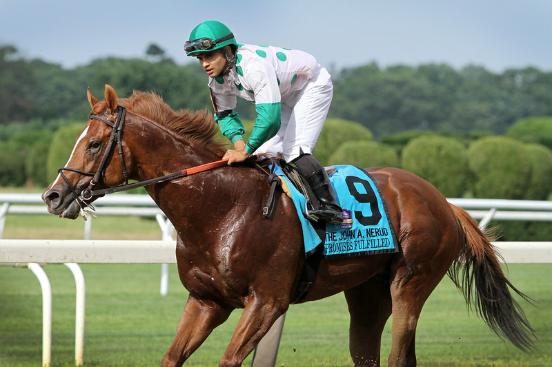 Promises Fulfilled (Shackleford) and jockey Luis Saez win the John A. Nerud Stakes (Gr II) at Belmont Park 7/6/19. Trainer: Dale Romans. Owner: Robert J. Baron