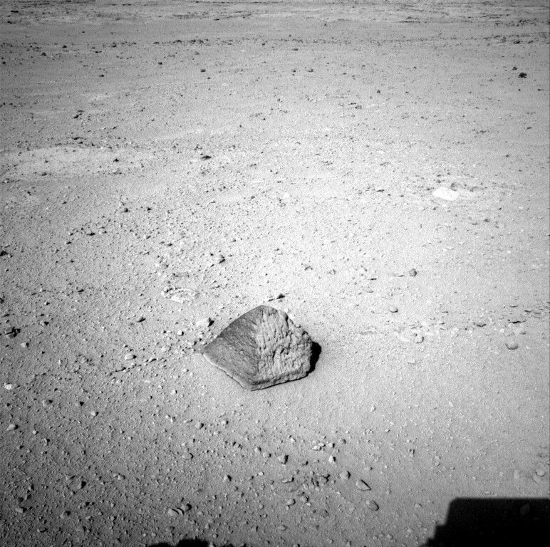 . FILE - This Wednesday, Sept. 19, 2012 photo provided by NASA shows a rock about 8 feet (2.5 meters) in front of the Curiosity rover on Mars. The rock is about 10 inches (25 centimeters) tall and 16 inches (40 centimeters) wide. The team has assessed it as a suitable target for the first use of Curiosity\'s contact instruments on a rock, and named it after the late Jacob Matijevic, who was the surface operations systems chief engineer for the Mars Science Laboratory Project and the project\'s Curiosity rover. (AP Photo/NASA/JPL-Caltech)