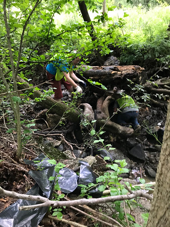 6.2.2018 Miller Run Cleanup behind Caldron Crafts