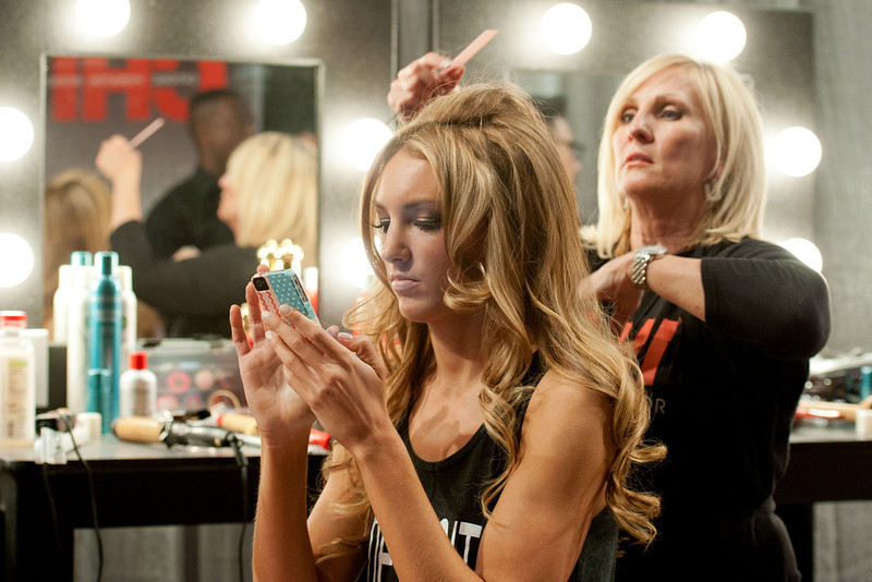 . Miss Michigan USA 2013, Jaclyn Schultz has her hair styled prior to the 2013 Miss USA Competition Preliminary Show  in Las Vegas  on Wednesday June 12, 2013.  She will compete for the title of Miss USA 2013 and the coveted Miss USA Diamond Nexus Crown on June 16, 2013.  (AP Photo/Miss Universe Organization, Valerie Macon)