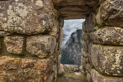 View of the jungle through a stone window
