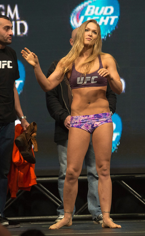 . UFC Woman\'s Bantamweight Champion Ronda Rousey prepares to weigh in  at the MGM Grand in Las Vegas Friday, December 27, 2013. Rousey will be defending her belt during UFC 168, in a rematch against challenger Miesha Tate on Saturday at the MGM Grand Garden Arena. (Photo by Hans Gutknecht/Los Angeles Daily News)
