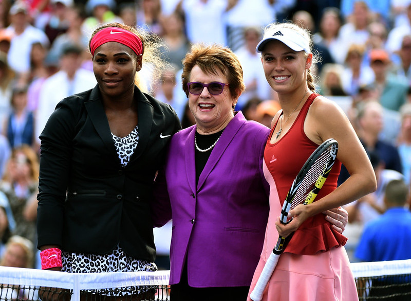 . US tennis great Billie Jean King poses before the start the match between Serena Williams of the US and Caroline Wozniacki (R) of Denmark during their 2014 US Open  Women\'s Singles - finals match at the USTA Billie Jean King National Tennis Center September7, 2014 in New York.    TIMOTHY A. CLARY/AFP/Getty Images