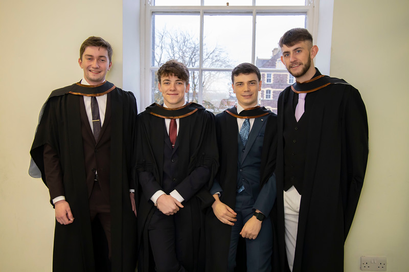 30/10/2019. Waterford Institute of Technology (WIT) Conferring Ceremonies. Pictured are Ryan Mcgivney, Ballygunner Waterford, Aaron Keogh Kilmeadem, Dylan McDonald Kilmacow and Dylan Murphy Enniscorthy who graduated Bachelor of Arts Hons in Marketing & Digital Media. Picture: Patrick Browne