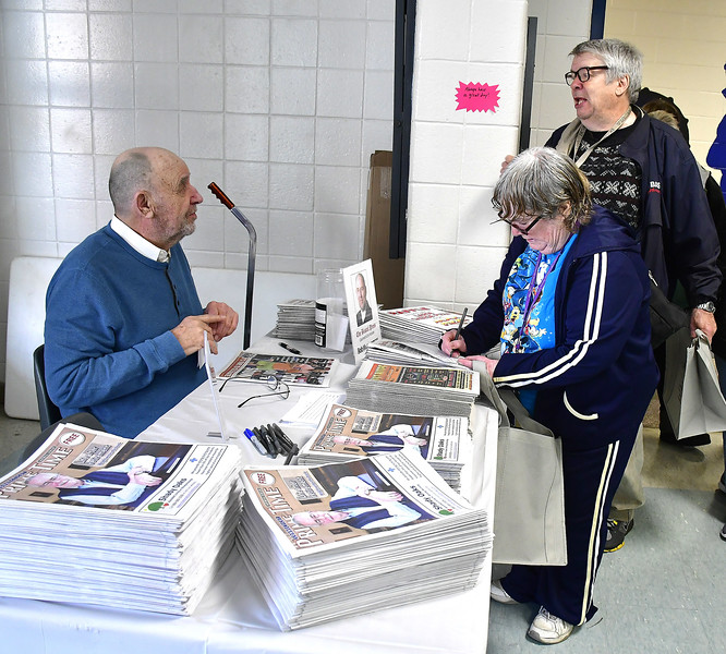 4/6/2019 Mike Orazzi | Staff Bob Montgomerty talks with Linda Donovan and Gary Middleton during the 5th Annual Connecticut Prime Time Senior Fair Saturday at Bristol Eastern High School.