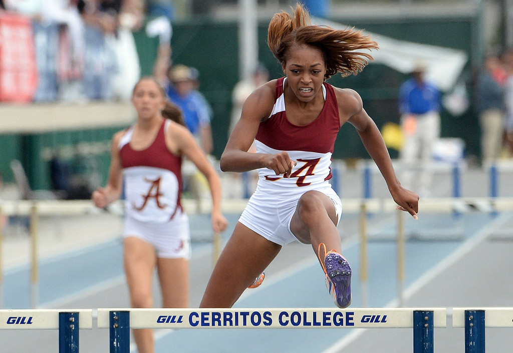 . Alemany\'s Skylin Harbin wins the division 4 300 meter low hurdles during the CIF Southern Section track and final Championships at Cerritos College in Norwalk, Calif., Saturday, May 24, 2014.   (Keith Birmingham/Pasadena Star-News)