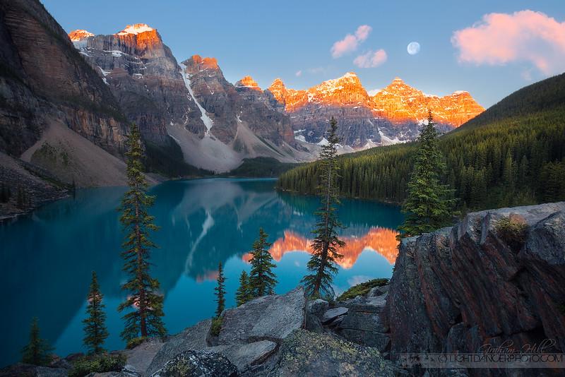 Sunrise, Moonset - Moraine Lake, Alberta