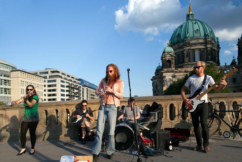 The Benka Boradovsky Bordello Band performing on Friedrich bridge, Berlin, Germany
