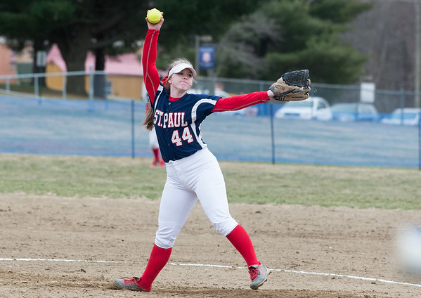 04/02/19 Wesley Bunnell | Staff St. Paul softball defeated Ansonia at home on Tuesday afternoon. Abby Poirot (44).
