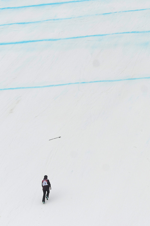 . Sweden\'s Emma Dahlstrom takes a jump during the women\'s freestyle skiing slopestyle qualifying at the Rosa Khutor Extreme Park, at the 2014 Winter Olympics, Tuesday, Feb. 11, 2014, in Krasnaya Polyana, Russia.(AP Photo/Sergei Grits)