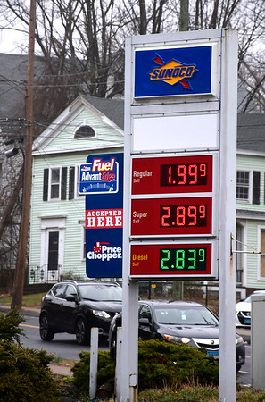 3/17/2020 Mike Orazzi | Staff Low gas prices along Route 6 in Bristol on Tuesday.