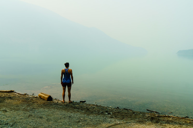 Daphnee Tuzlak at Lillooet Lake near Pemberton, British Columbia.