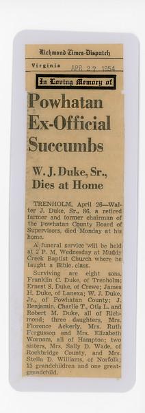W.J. Duke Sr., Death Notice April 26, 1954