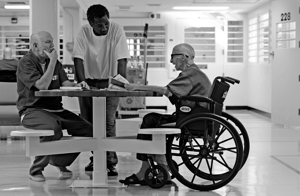 . CANYON CITY, CO. - DECEMBER 04: When feeling well enough, Robert Bryan visits other prisoners in the infirmary\'s pod, December 04, 2012. Since Bryan has no contact with his family, his fellow prisoners became like family to him in the last months of his life. (Photo By RJ Sangosti/The Denver Post)