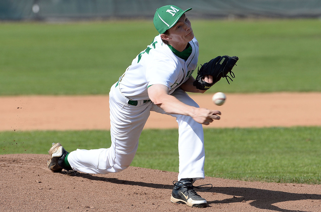 . Monrovia starting pitcher Brian McConnell throws to the plate against Alhambra in the first inning of the Arcadia Elk Baseball Tournament at Monrovia High School in Monrovia, Calif., on Thursday, March 13, 2014. Monrovia won 2-0.  (Keith Birmingham Pasadena Star-News)