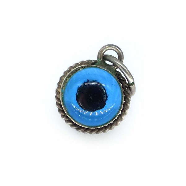 Antique Edwardian Silver Tiny Evil Eye Charm Pendant