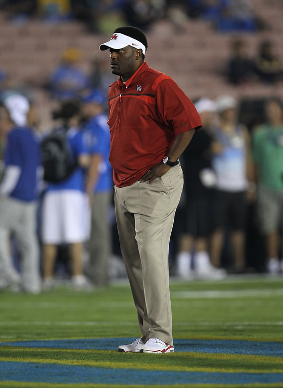 . Head coach Kevin Sumlin of the Houston Cougars during warmups for the game with the UCLA Bruins at the Rose Bowl on September 18, 2010 in Pasadena, California.  (Photo by Stephen Dunn/Getty Images)