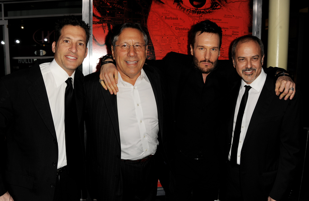 """. Producers Jeff Graup, Robert L. Stein, actor Michael Eklund and producer Michael Helfant arrive at the premiere of Tri Star Pictures\' \""""The Call\"""" at the Arclight Theatre on March 5, 2013 in Los Angeles, California.  (Photo by Kevin Winter/Getty Images)"""