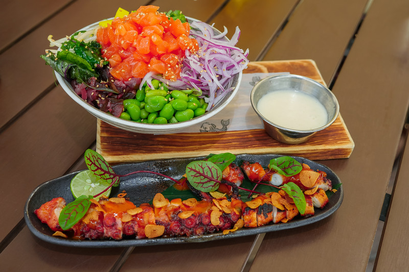 Salmon Poke Bowl and Grilled Octopus