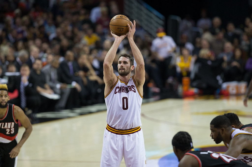 . Michael Johnson - The News-Herald Kevin Love of the Cleveland Cavaliers shoots a free throw during a home game against the Portland Trailblazers on November 23, 2016 at the Quicken Loans Arena.