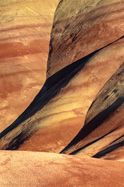 Close view at sunset of the Painted Hills Unit of teh John Day Fossil Beds in Oregon, USA