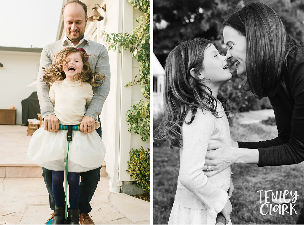 Father and daughter pogo stick jumping. Mom and daughter nose kiss. Lifestyle in-home family photoshoot in Marin, CA by Tenley Clark Photography.