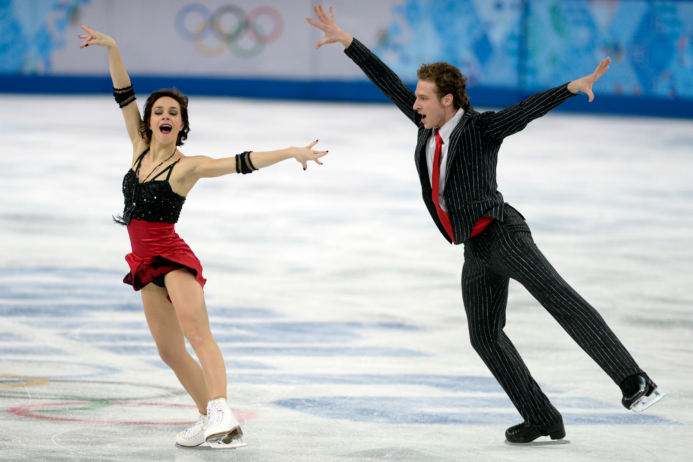 . France\'s Nathalie Pechalat and Fabian Bourzat perform their routine in ice dance short en route to a 69.15 during team figure skating. Sochi 2014 Winter Olympics on Saturday, February 8, 2014. (Photo by AAron Ontiveroz/The Denver Post)