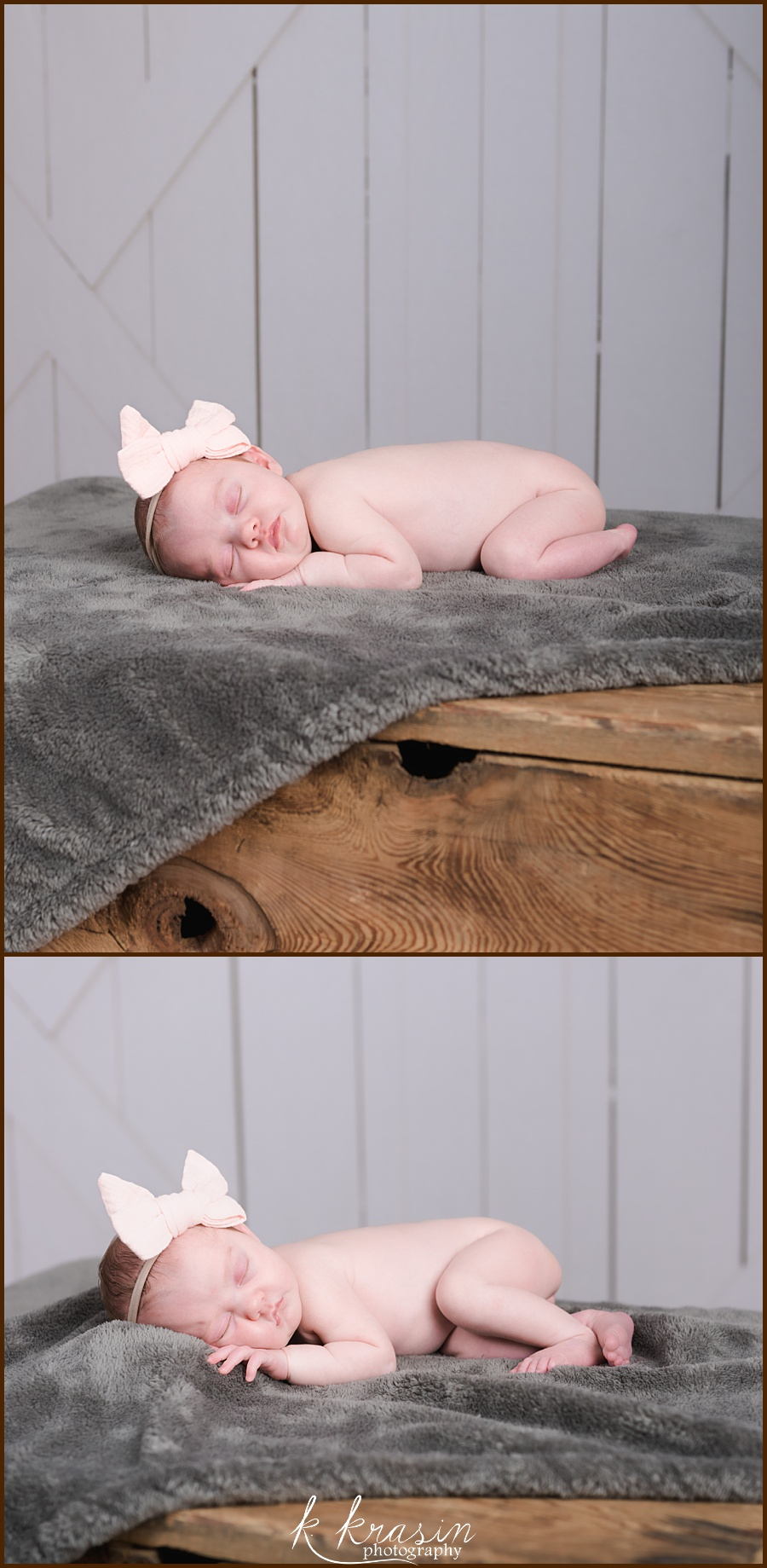 Collage of photos of newborn girl sleeping on gray blanket on wooden box