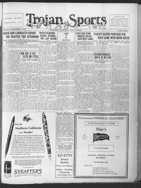 Southern California Daily Trojan, Vol. 21, No. 1, September 17, 1929