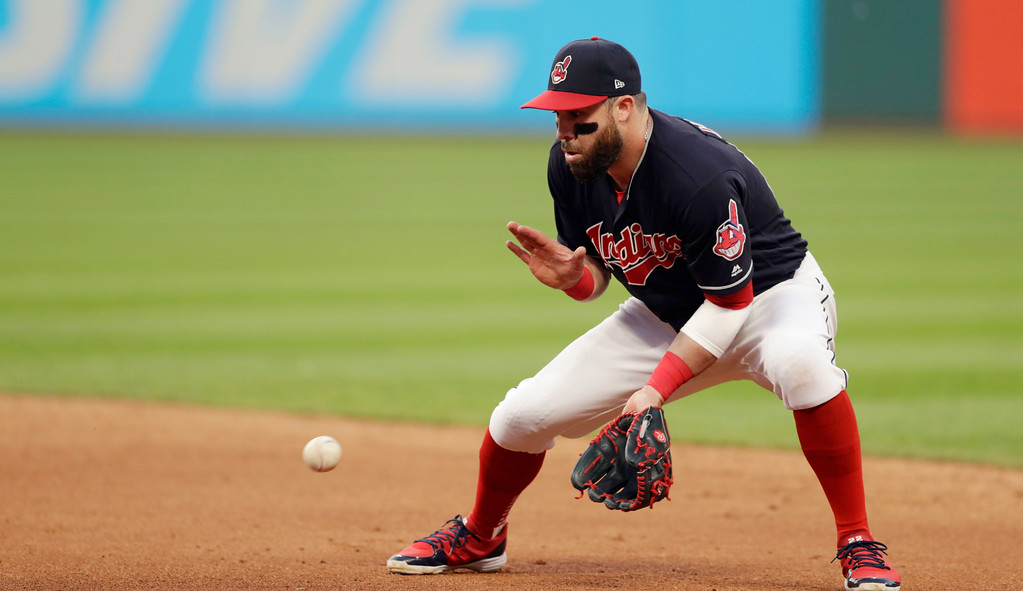 . Cleveland Indians\' Jason Kipnis fields a ball hit by Houston Astros\' Marwin Gonzalez in the seventh inning of a baseball game, Thursday, May 24, 2018, in Cleveland. Gonzalez was out on the play. (AP Photo/Tony Dejak)
