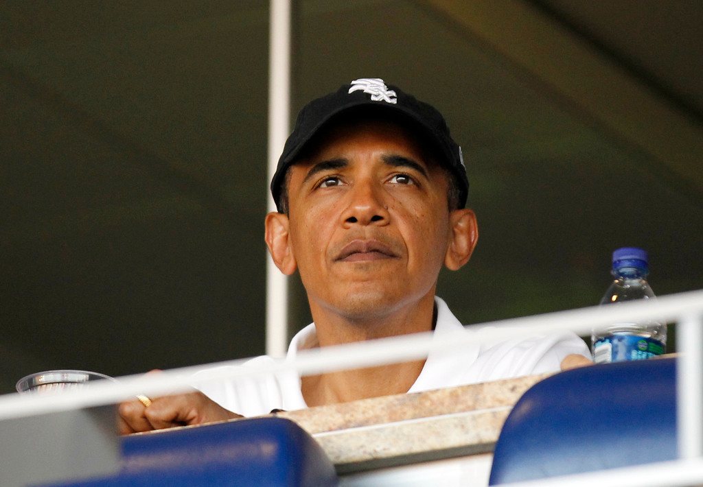 . President Barack Obama attends an interleague baseball game between the Chicago White Sox and the Washington Nationals, Friday, June 18, 2010 in Washington.(AP Photo/Pablo Martinez Monsivais)