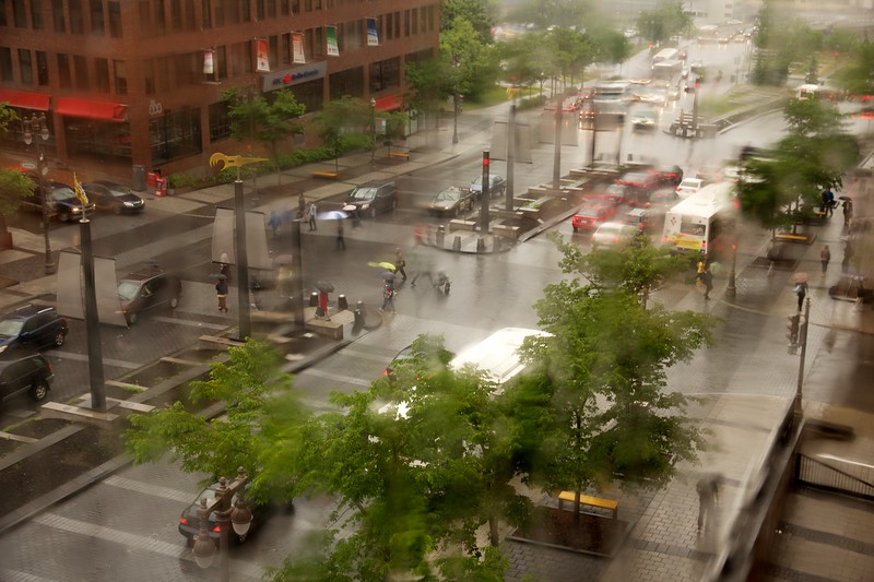 Rainy day on Avenue Honoré-Mercier, Quebec City, Canada. Viewed through rain soaked hotel window, blur is for effect.
