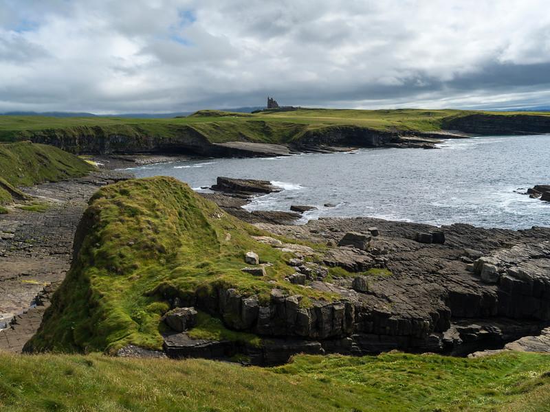 Castle on coastline, Classiebawn Castle, Mullaghmore Peninsula, Grange, County Sligo, Ireland