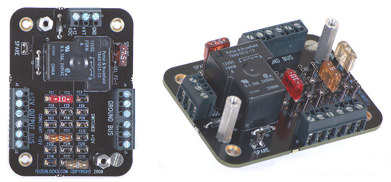 FuzeBlocks auxiliary power distribution / fuse Panels for motorcycles - the easy and safe way to add 