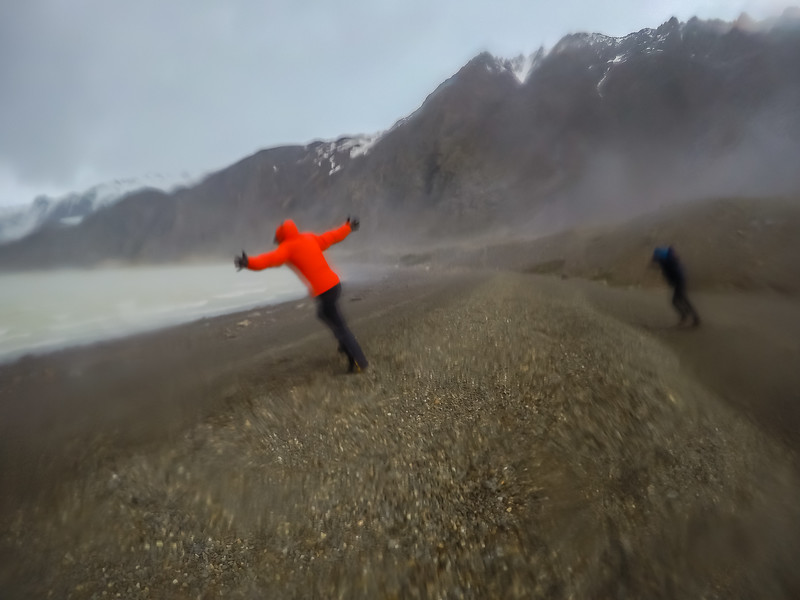 Hiker in Patagonia during high winds