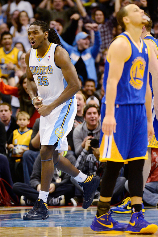 . Denver Nuggets small forward Kenneth Faried (35) reacts to a dunk and a foul against the Golden State Warriors during the second half of the Nuggets\' 116-105 win at the Pepsi Center on Sunday, January 13, 2013. AAron Ontiveroz, The Denver Post