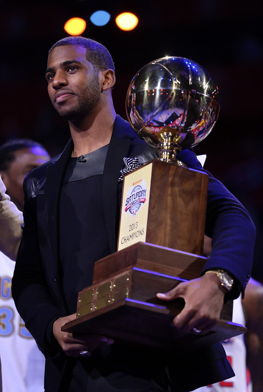 . HOUSTON, TX - FEBRUARY 16:  Chris Paul of the Los Angeles Clippers and captain of the West team celebrates after the West wins All-Star Saturday Night during the 2013 NBA All-Star Weekend at the Toyota Center on February 16, 2013 in Houston, Texas.  (Photo by Ronald Martinez/Getty Images)