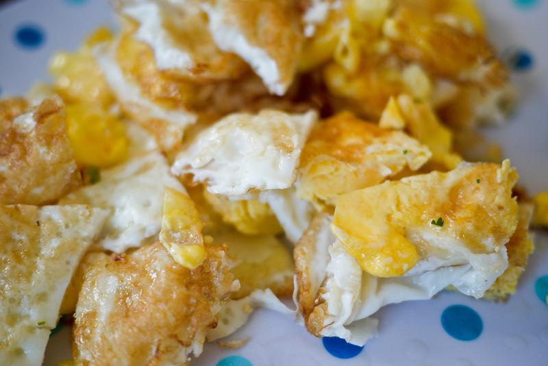 Deep fried eggs for my Thai fried egg salad.