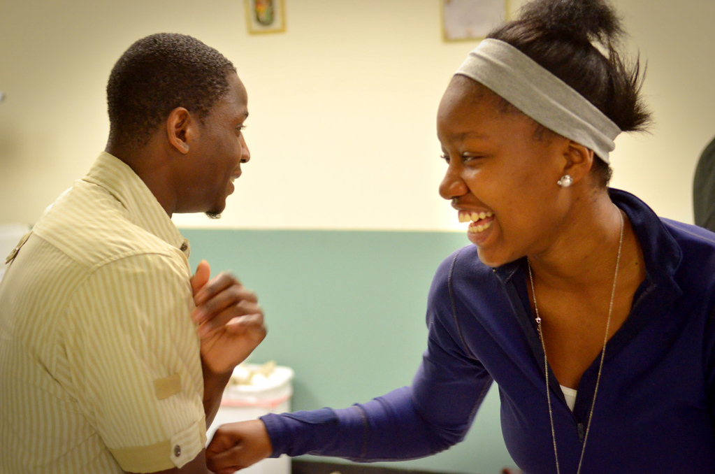. Rika Shabazz, 18,currently of Richfield jokes with volunteer Tyler Martins in the teen center at Mary\'s Place in Minneapolis on Wednesday, June 5, 2013. The transitional shelter at times has provided a roof over the heads of Shabazz, her mother and four siblings during her family\'s eight years of homelessness. (Pioneer Press: John Autey)