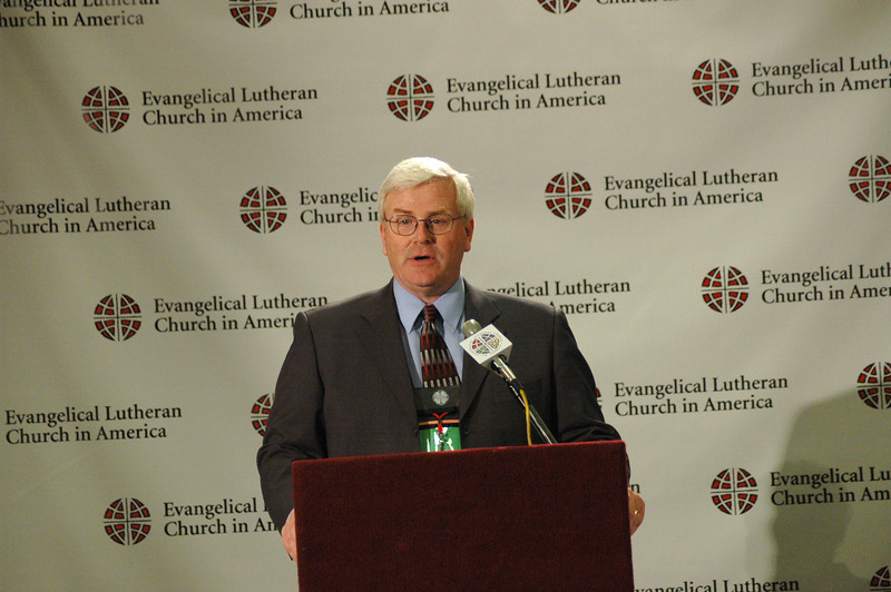 "John Brooks, Director, ELCA News Service welcomes media and staff to a Press Conference on ""Book of Faith."""